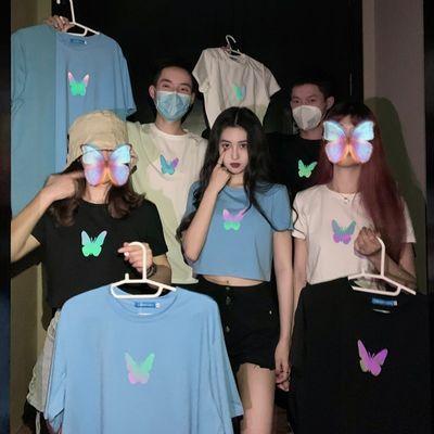 FREE VALLEY 2020夏季网红闺蜜情侣装反光蝴蝶印花短袖t恤上衣潮