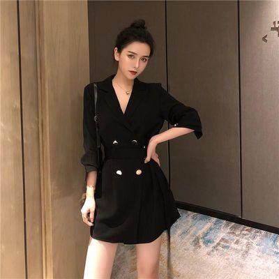 秋装新款韩版chic系带小西装外套女休闲双排扣中长款薄款黑色西服