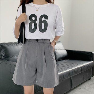 大码西装短裤女200斤胖妹妹mm夏款五分裤宽松阔腿显瘦高腰中裤潮
