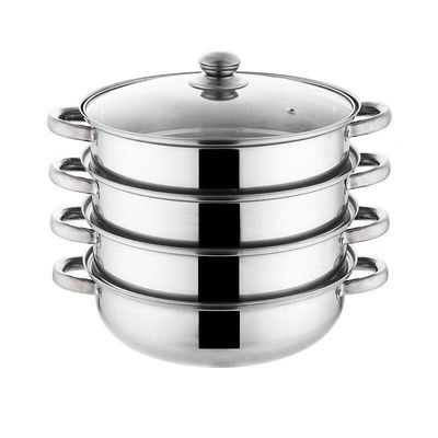 28cm不锈钢汤蒸锅汤锅家用小蒸锅2三层3层双层四4层蒸笼蒸格蒸锅