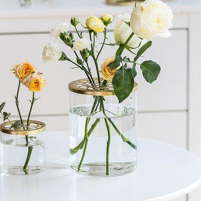 北欧简约创意透明玻璃网格盖花瓶摆件客厅插花鲜花水培固定神器