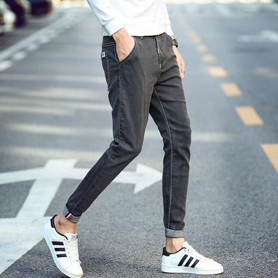 潮男百搭修身小脚青年男士牛仔裤弹力学生潮流男装长裤子