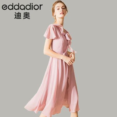 迪奥eddaDior雪纺连衣裙夏季新款欧美大牌超仙法式复古显瘦仙女裙
