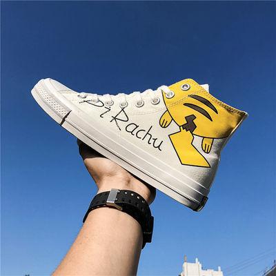 高帮帆布鞋男士夏季鞋子潮流百搭学生鞋子青少年皮卡丘卡平底鞋