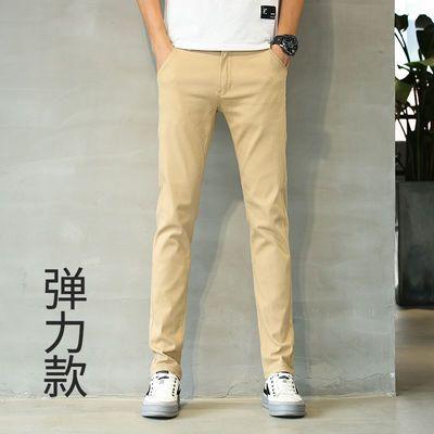 黑色男士休闲长裤春季裤子男学生韩版潮流修身小脚男装百搭小西裤