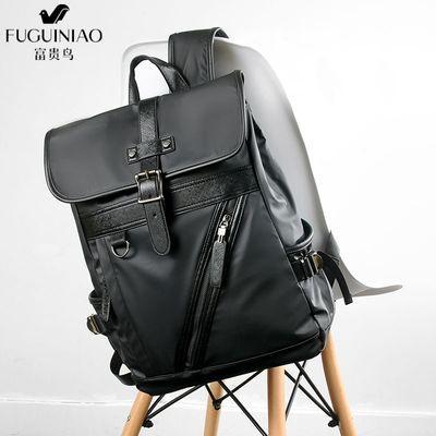 富贵鸟男士双肩包时尚潮流大容量旅行大学生书包简约电脑休闲背包