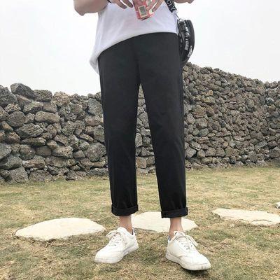 夏季男生九分休闲裤卡其色裤子男直筒宽松阔腿裤韩版潮流百搭9分