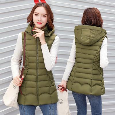 【可卸帽】新款棉马甲女中长款大码显瘦韩版羽绒棉背心马夹女外套