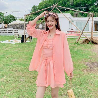 2020新款夏季新品韩版长袖防晒衣+吊带+短裤时尚网红三件套