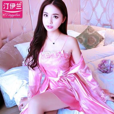 睡衣女春秋长袖夏季冰丝蕾丝性感两件套装吊带睡裙大码丝绸家居服