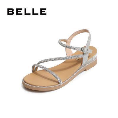国内正品代购坡跟凉鞋女鞋2020夏季百丽新款闪钻透明跟凉鞋V4C1