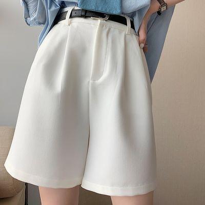 白色短裤女夏高腰西装五分裤子女学生韩版宽松直筒阔腿休闲裤子女