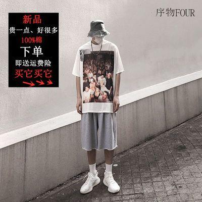 欧美高街美式复古亚比风印花短袖男oversize宽松嘻哈街头个性T恤