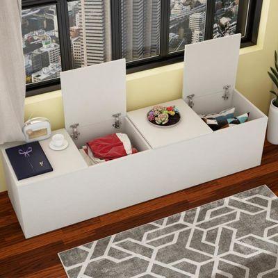 阳台柜子储物柜收纳矮柜地柜可坐飘窗柜子防晒卧室飘窗柜定制柜子