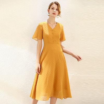 200斤胖妹妹加肥加大码女装2020夏装新款荷叶袖V领韩版雪纺连衣裙