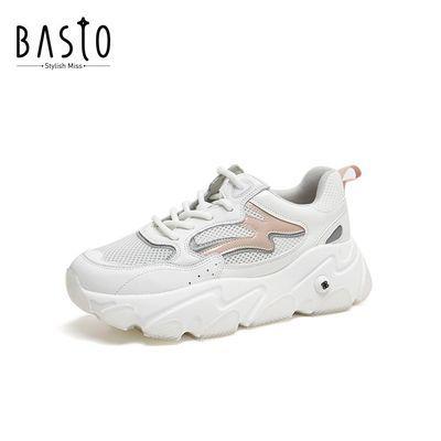 百思图2020秋季新款时尚运动范网面透气增高厚底女老爹鞋BCB35CM0