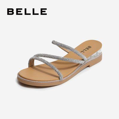 商场同款坡跟凉拖女2020夏季百丽新款闪钻条带透明跟拖鞋凉鞋V4C2