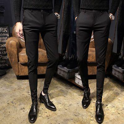 黑色西裤男士休闲裤修身潮流小脚裤男条纹西裤春夏秋青年西装长裤