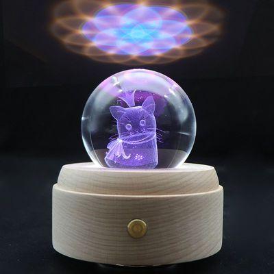 【七彩触摸款】创意礼品水晶球音乐盒透明水晶球八音盒3D小夜灯