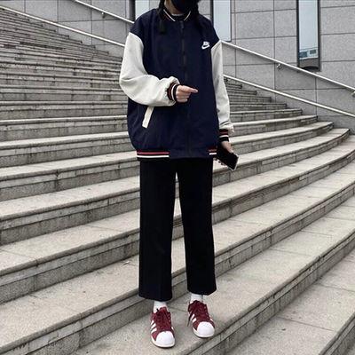 黑色直筒裤女学生韩版宽松百搭坠感西装九分休闲裤高腰阔腿裤夏季