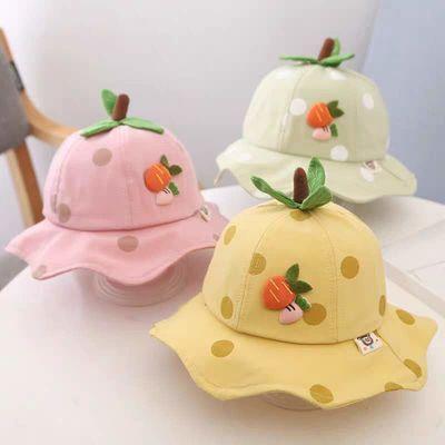 婴儿帽子春夏季宝宝网眼渔夫帽男女宝宝夏天薄款遮阳帽可爱太阳帽