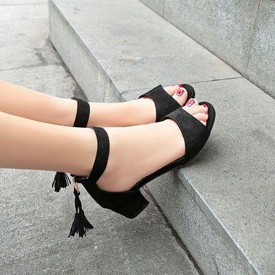 凉鞋女中跟一字扣高跟粗跟绒面凉鞋34码到40码标准码后拉链流苏