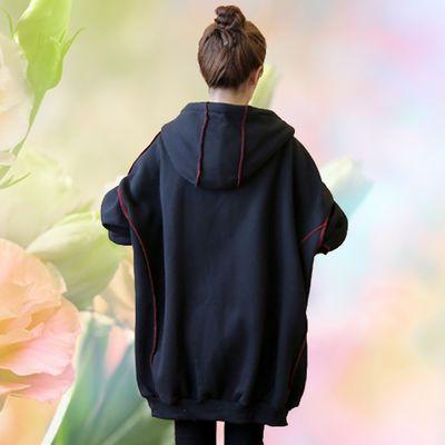 300斤大码女装秋装卫衣胖MM中长款开衫连帽加厚蝙蝠袖长袖外套女