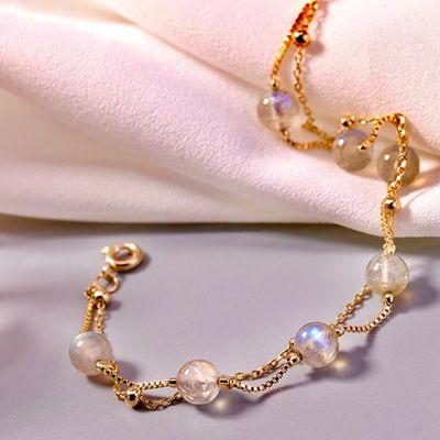 【网红新款】天然水晶冰种月光石ins原创古风简约双层手链手串