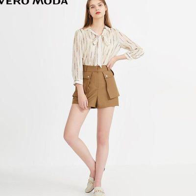 新款Vero Moda2020春夏新款通勤风系带领印花雪纺衬衫女|32023154