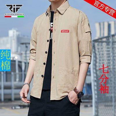 乔奇阿玛尼夏季男士衬衫潮流短袖七分袖宽松休闲工装衬衣大码男装