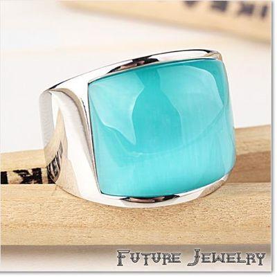 韩版潮牌单身男士湖水蓝猫眼石钛钢戒指 复古时尚指环饰品个性潮