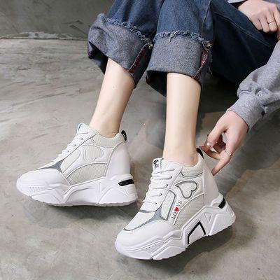 春季新款透气网面鞋韩版女鞋超高跟女休闲鞋松糕厚底内增高运动鞋