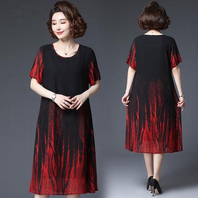 加肥加大码女装2020夏季短袖新款连衣裙女宽松显瘦中老年大码女装