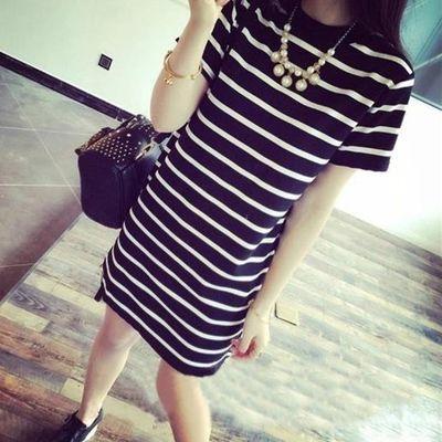2020夏季新款短袖T恤女韩版宽松百搭黑白条纹中长款连衣裙打底衫