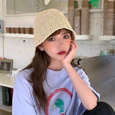 网红款编织草帽可折叠韩版水桶帽日系ins夏天防晒遮阳渔夫帽子女