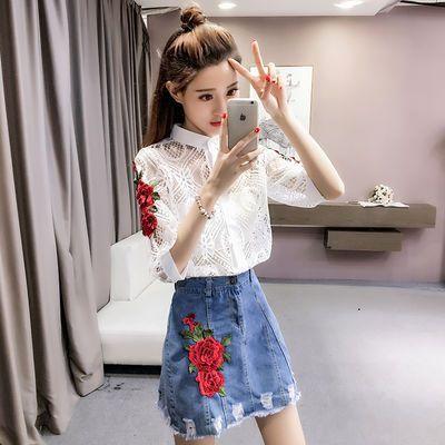 新款韩版时尚显瘦刺绣镂空蕾丝上衣+牛仔短裙套装女两件套潮
