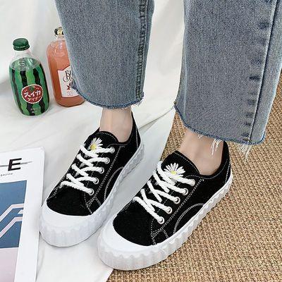 GD同款小雏菊帆布鞋女2020春季新款学生街拍权志龙滑板鞋黑色帆布