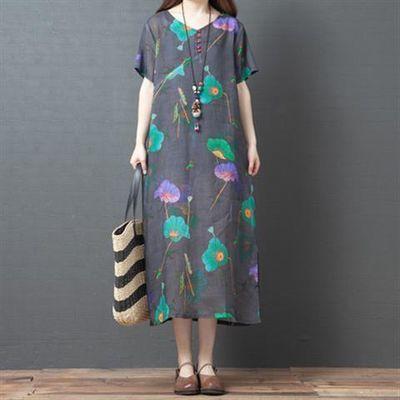 连衣裙新款2020夏季韩版宽松大码女装舒适拼接显瘦印花打底A字裙