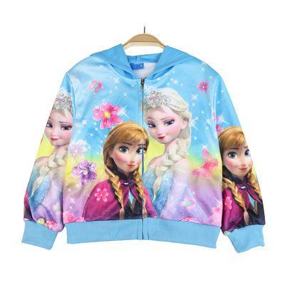 75863/女童秋装儿童外套2021新款春秋童装女孩卫衣宝宝夹克冰雪奇缘爱莎