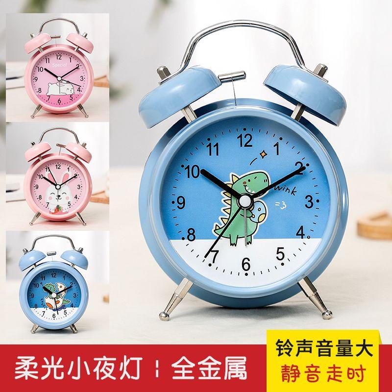 【铃声超大】闹钟学生简约宿舍床头夜光静音创意个性卡通小闹钟表