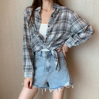 实拍 夏装薄款防晒衣格子衬衫女装2020新款长袖空调衫上衣 7087
