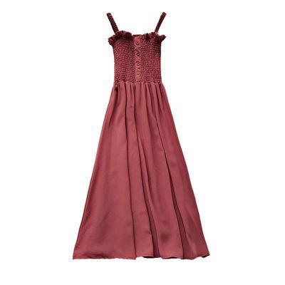 秋季内搭连衣裙新款气质百搭木耳边压褶显瘦抹胸吊带中长款雪纺裙