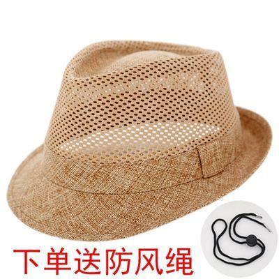 定型高档镂空礼帽男士夏天凉帽中老年人帽子绅士帽透气遮阳草帽潮