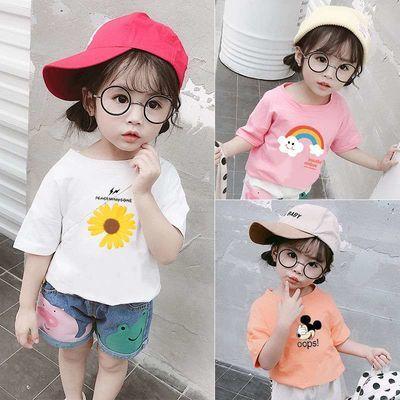 女童短袖t恤纯棉洋气2020新款夏装小孩儿童宝宝夏季韩版时尚上衣