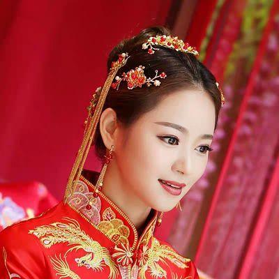 中式古装新娘头饰套装秀禾服龙凤褂配饰凤冠霞帔结婚汉服饰品