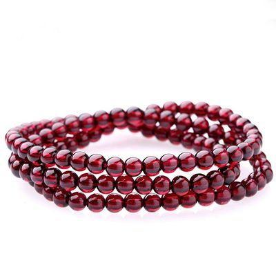 天然酒红色正品收藏级三圈四圈多层水晶手链送闺蜜手串本命年礼物