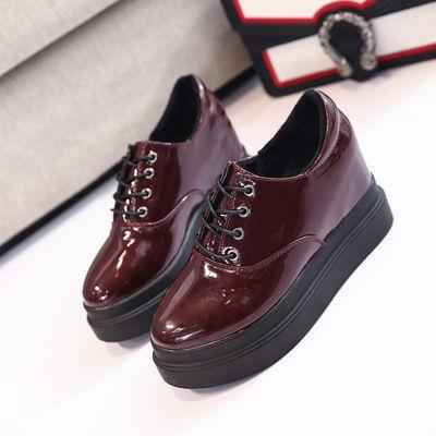 韩版内增高女鞋百搭学生厚底松糕鞋圆头系带坡跟女单鞋显瘦小皮鞋