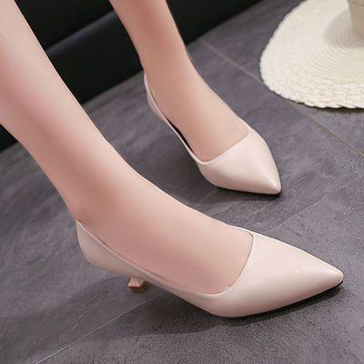 【5厘米单鞋】亚光皮黑色高跟鞋女夏职业单鞋酒杯跟韩版细跟跟鞋