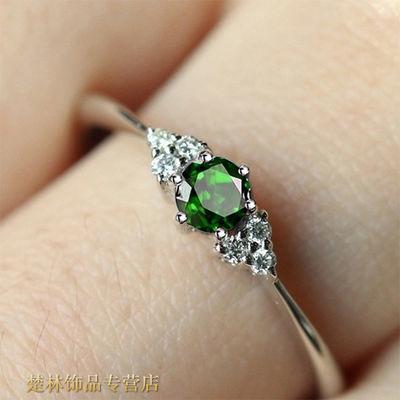 (新款圆形宝石)姐姐同款绿宝石戒指女 乘风破浪纯银可爱戒指盒