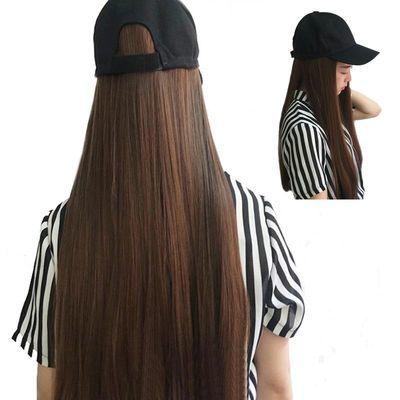 假发帽子一体女 2020新款气质长直发户外遮阳鸭舌帽假发女